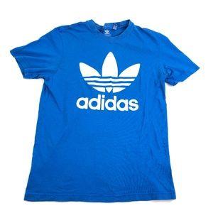 Adidas Mens Medium Shirt Spell Out T-Shirt Blue